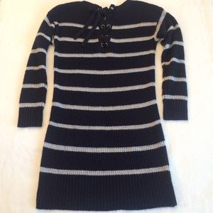 AEO | Navy Blue Striped Sweater Dress